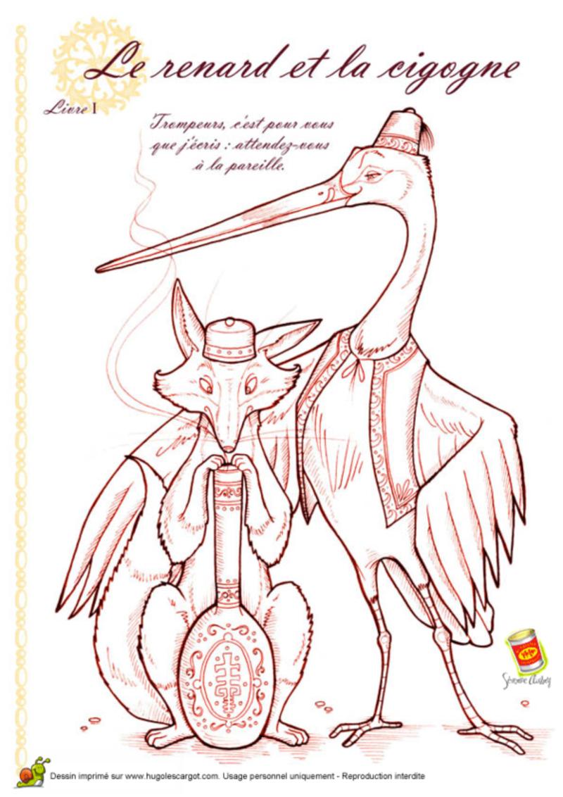 Les fables de la fontaine - Coloriage le corbeau et le renard ...