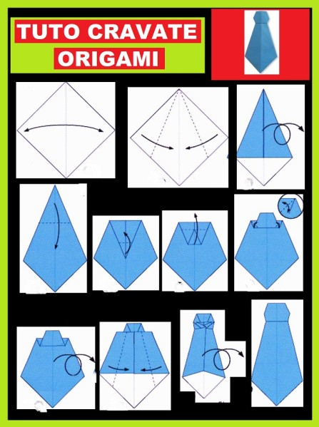 tuto origami chemise cravate. Black Bedroom Furniture Sets. Home Design Ideas
